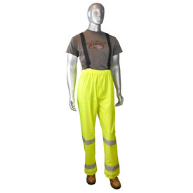 Radians Fortress 20 Class E Hi-Viz Rain Pants - mannequin wearing grey tee shirt and brown shoes over Radians black and yellow hi-visibility rain bib overall with grey reflective tape on ankles area.