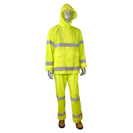 Radians Fortress 20 Class 3 High Visibility HD Rainwear Set - mannequin wearing Radians yellow hi-visibility rainwear hooded jacket with grey reflective stripes on arms, chest and waist. Radians yellow hi-visibility rainwear safety long pants with grey reflective stripes on ankles area and brown shoes.