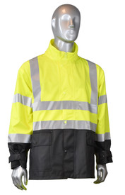 Radians Fortress 35 Class 3 Hi-Viz Rain Suit - mannequin wearing Radians black and yellow hi-visibility rainwear safety collar jacket with grey reflective tape on shoulders, arms and chest.