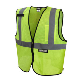 DeWalt Class 2 Hi Viz Zipper Closure Safety Vest - Front View of DeWalt High visibility yellow mesh front zipper vest with black outline and reflective strips on shoulders and chest