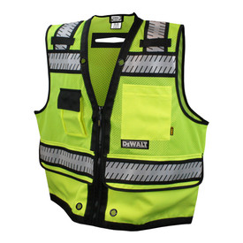 DeWalt Class 2 Surveyor Breathable Mesh Safety Vest - High visibility mesh yellow vest with front zipper, black outlined reflective strips and multiple front pockets