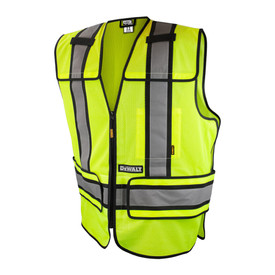 DeWalt Class 2 Adjustable Breakaway Mesh Safety Vest - Yellow mesh high visibility vest with front zipper, black outlined reflective strips, and front pockets