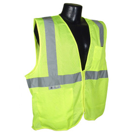 Radians Mesh Class 2 Economy Zipper Safety Vest - Mesh Class 2 Economy Zipper Front Hi Viz Yellow Safety Vest with Silver stripes going up front and over the shoulders and silver tape across the front underneath the arms