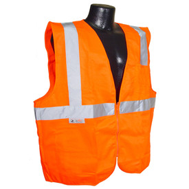 Radians Solid Class 2 Economy Zipper Safety Vest - Solid Material Class 2 Economy Zipper Front Orange Safety Vest with Silver stripes going up front and over the shoulders and silver tape across the front underneath the arms