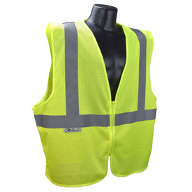 Radians Class 2 Economy Mesh Zipper Closure Safety Vest - yellow hi visibility zippered safety vest with grey reflective tape on shoulders and hips.