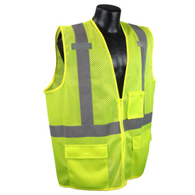 Radians Class 2 Mesh Tablet Pocket Safety Vest - yellow hi visibility zippered safety vest with three front pockets and grey reflective tapes on shoulders and hips.