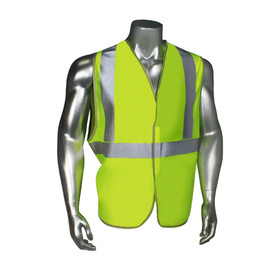Radians Class 2 Standard Mesh Hook & Loop Safety Vest - quin wearing Radians yellow green hi visibility safety vest with grey reflective tape on shoulders and hips.
