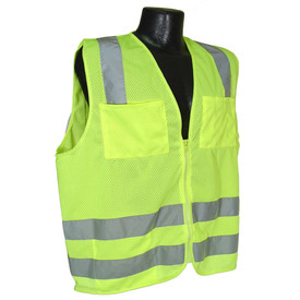 Radians Class 2 Economy Solid Mesh Hook & Loop Safety Vest - yellow hi visibility zippered safety vest with two front pocket and grey reflective tape on shoulders and hips.