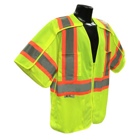 Radians Class 3 Mesh Breakaway Surveyor Safety Vest - High visibility yellow and orange work vest with short sleeves and front zipper