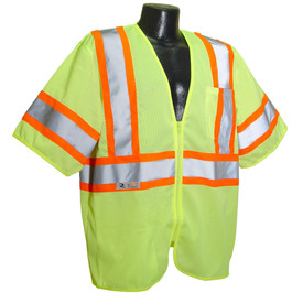Radians Class 3 Economy 2 Tone Mesh Safety Vest - Front zippered yellow high visibility mesh cover short sleeve shirt with front pocket and orange outlined reflective strips
