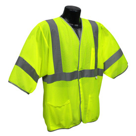Radians Class 3 Mesh 3 Pockets Safety Vest - High visibility yellow work vest with hook and loop closure and reflective strips