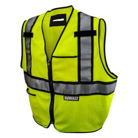 DeWalt Class 2 FR CAT 1 Hi-Viz Safety Vest Made in USA - High visibility yellow mesh safety work vest with front zipper and reflective strips