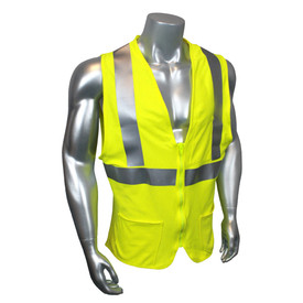 Radians Class 2 FR Modacrylic Hook & Loop Safety Vest - quin wearing Radians yellow hi visibility zippered safety vest with grey reflective tape on shoulders and hips.