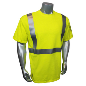 Radians FR Class 2 Green Short Sleeve T-Shirt Made in USA - quin wearing Radians yellow hi visibility safety short sleeve tee-shirt with grey reflective tape on shoulders and hips.