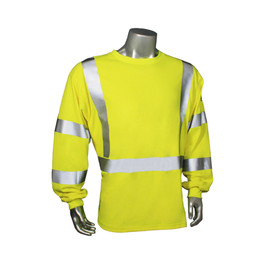 Radians FR Class 3 Green Long Sleeve T-Shirt Made in USA - Yellow high visibility long sleeve work shirt with reflective strips on arms and torso