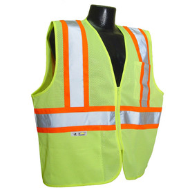 Radians Class 2 Self Extinguishing Mesh Safety Vest - Yellow and orange mesh vest with front zipper and reflective strips