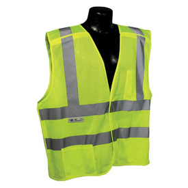 Radians Class 2 Self Extinguishing Breakaway Safety Vest - High visibility yellow mesh safety work vest with front pocket and reflective strips