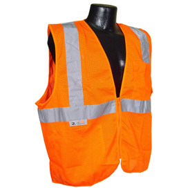 Radians Class 2 Self Extinguishing Zipper Front Safety Vest - Yellow mesh safety vest with front pocket and zipper with reflective strips