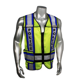 """Radians Class 2 Fire Police EMS 4 Inch Contrast Safety Vest - quin wearing Radians yellow hi-visibility zippered safety vest with black outlined and grey reflective tapes with blue outlined on shoulders and hips. Black """"POLICE"""" text on reflective tape."""