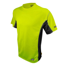 DeWalt Hi Viz Green Short Sleeve Anti-Microbial Shirt - Bright yellow and black athletic short sleeve shirt with black sides
