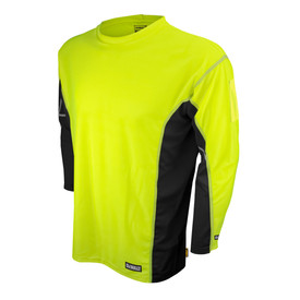 DeWalt Hi Viz Green Long Sleeve Anti-Microbial Shirt - Bright yellow and black athletic long sleeve shirt with black sides