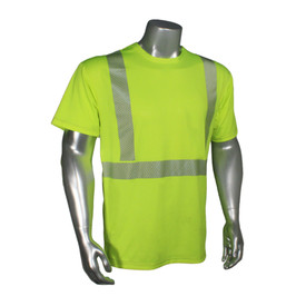 RadWear Class 2 Ultra-Breezelite Short Sleeve T-Shirt - Radians yellow hi-visibility short sleeve tee shirt with grey reflective tapes on hips and shoulders.