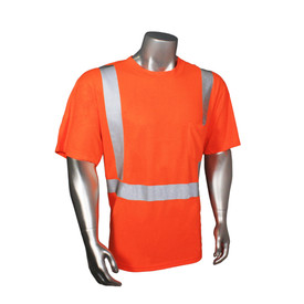 RadWear Class 2 Hydrowick Short Sleeve T-Shirt - Radians orange hi-visibility short sleeve tee shirt with grey reflective tapes on hips and shoulders.