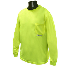 Radians NON-ANSI Polyester Mesh Long Sleeve T-Shirt - Bright yellow long sleeve shirt with front pocket