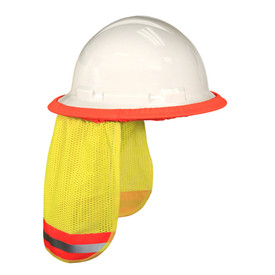 Radians Class E Mesh Hi-Viz Neck Shades for Hard Hats - High visibility bright orange and yellow mesh neck shade for hard hats with elastic attachment and reflective strips