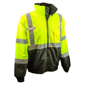 Radians Class 3 Hi-Viz 2-in-1 Removable Liner Bomber Jacket - black and yellow hi-visibility removable liner bomber safety jacket with full collar and grey reflective tapes on arms, shoulders and hips.