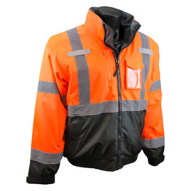 Radians Class 3 Hi-Viz Removable Liner & Sleeves Bomber Jacket - orange and black hi-visibility zippered rain safety jacket with collar, front chest pocket, and grey reflective tapes on arms, hips and shoulders.