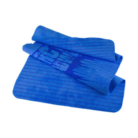 Radians Artic RadWear Blue & Lime Anti-Microbial Cooling Towel - Blue rectangular cooling towel with horizontal dark blue design and rounded corners