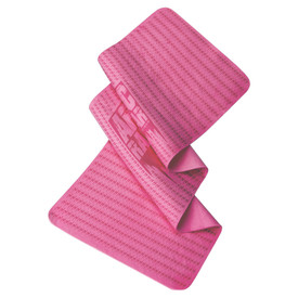 Radians Artic RadWear Anti-Microbial Cooling Towel - Pink rectangular cooling towel with horizontal dark blue design and rounded corners