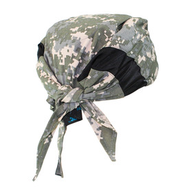 Radians Artic RadWear Cooling Shade - Gray and white styled tied back cooling headband for full head thermal regulation