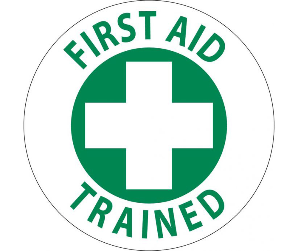 first aid trained 2 inch vinyl hard hat label aris industrial supply