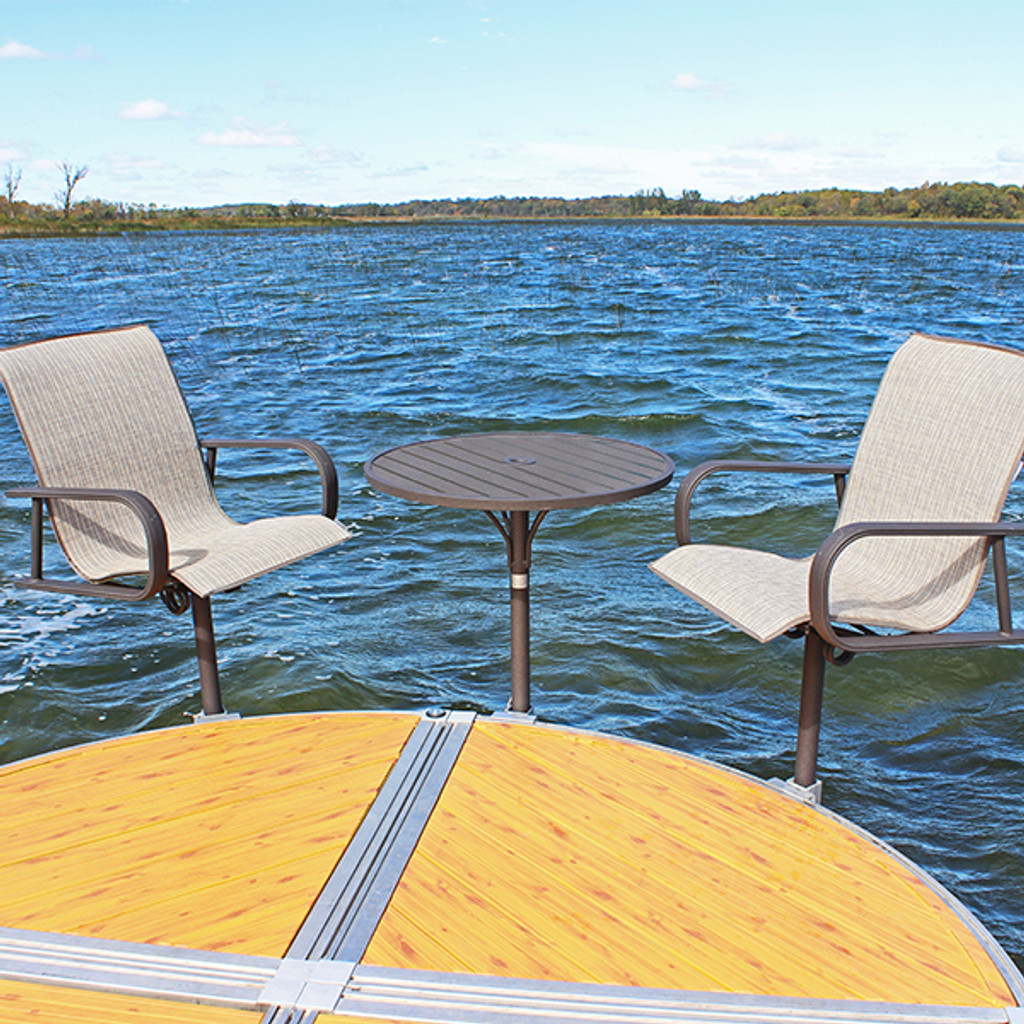 Charmant ShoreMaster Premium Dock Furniture Gull Fabric On Chair With Hickory Finish