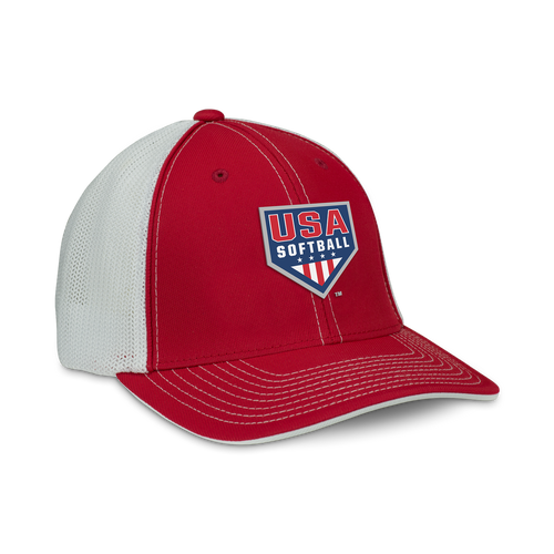 Adjustable snapback hat with the official USA Softball logo embroidered on front. Red crown and bill with white trucker mesh back.