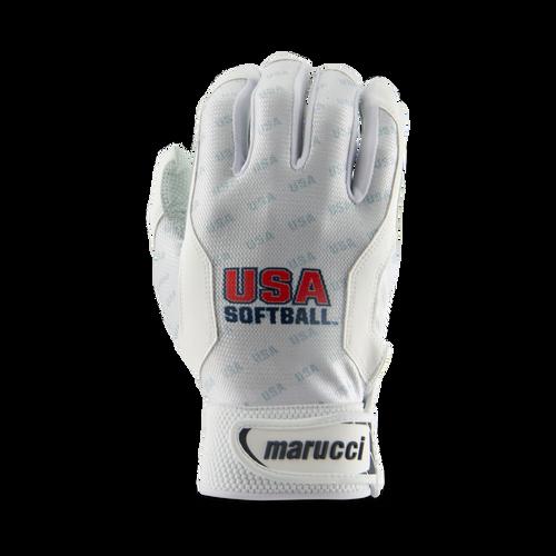 USA Softball White Batting Gloves