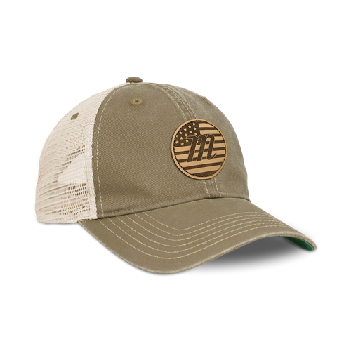 USA Leather Patch Trucker Hat