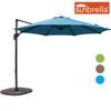 Sundale Outdoor 10ft Sunbrella® Fabric Offset Hanging Umbrella Market Patio Umbrella Aluminum Cantilever Pole with Crank Lift, Corss Frame, 360°Rotation, for Garden, Deck, Backyard (Sky Blue)