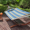 Lazy Daze Hammocks Quilted Fabric with Pillow for Two Person Double Size Spreader Bar Heavy Duty Stylish, Beaches Stripe