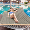 Lazy Daze Hammocks Quilted Fabric with Pillow for Two Person Double Size Spreader Bar Heavy Duty Stylish, Cocoa