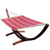 Lazy Daze Hammocks 13 FT Poolside Hammock with Textliene Fabric and Hardwood Spreader Bar ,Red and Orange Stripe