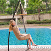 Lazy Daze Hammocks Cushioned Hanging Hammock Swing Lounger Chair All Weather Rope Chair Cotton Padded Hammock Seat, Capacity 350 lbs, Blue/Red Stripes