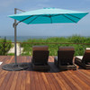 Sundale Outdoor 9.5ft Square Offset Hanging Umbrella Market Patio Umbrella Aluminum Cantilever Pole w/Cover, Crank Lift and Cross Frame, Polyester Canopy, 360°Rotation, for Garden,Deck,Backyard, Blue