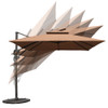 Sundale Outdoor 10ft Square Offset Hanging Umbrella Market Patio Umbrella Aluminum Cantilever Pole w/Stylish Dual Wind Vent, Cover, Crank Lift and Corss Frame, 360°Rotation, for Garden,Backyard, Tan
