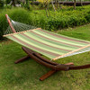 Lazy Daze Hammocks Sunbrella Fabric Hammock with 12 Feet Wood Arc Stand, Backyard Combo Set, Forest Stripe