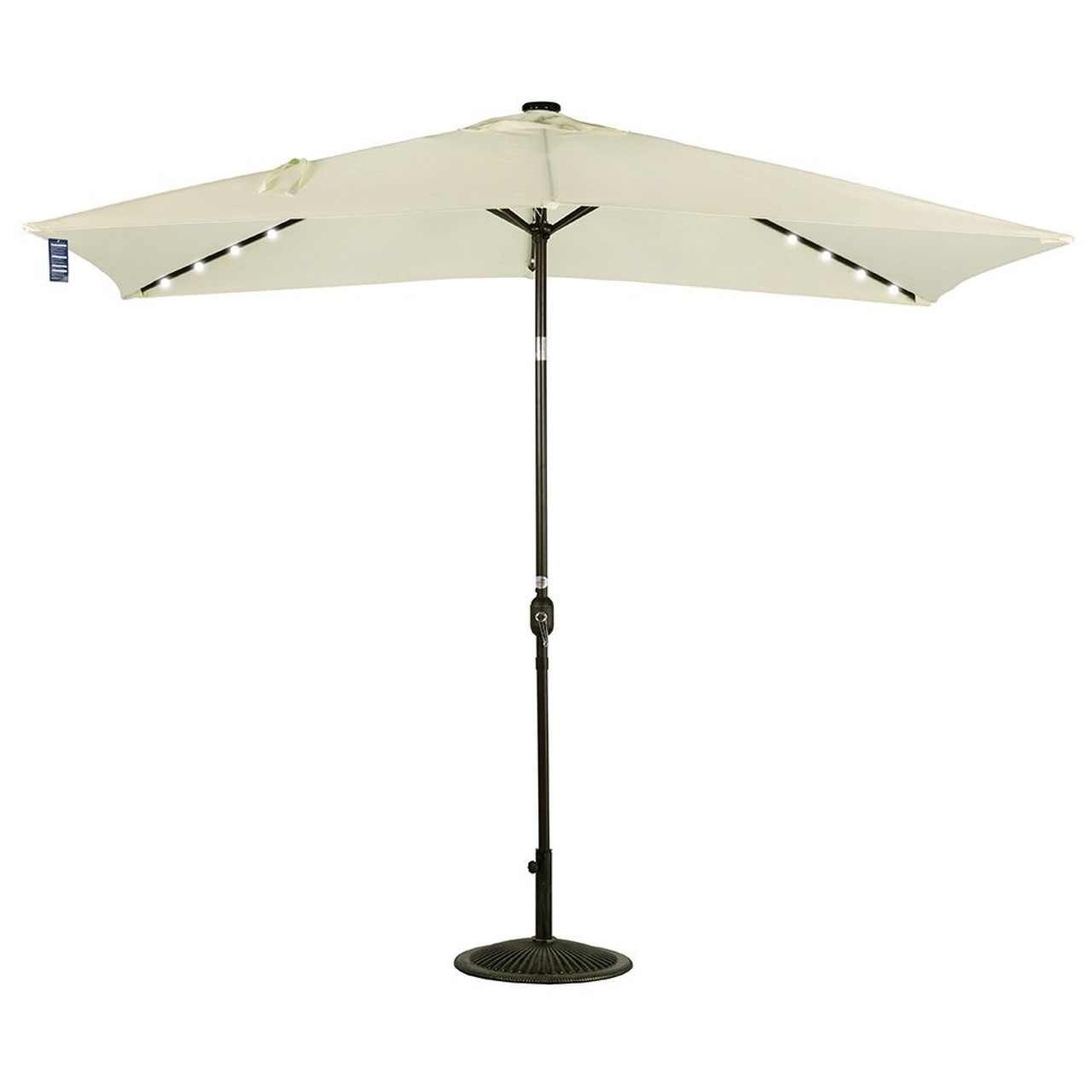 Led Umbrella Features: Rectangular Solar Powered 22 LED Lighted Outdoor Patio