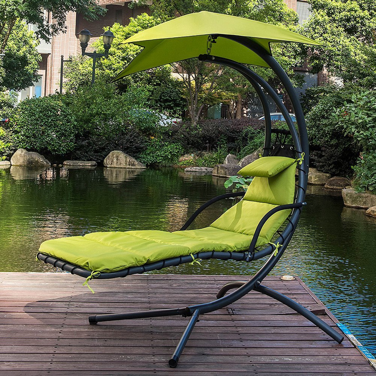 Lazy Daze Hammocks Dream Chair With Umbrella Hanging Chaise Lounge Chair  Arc Curved Hammock (Apple