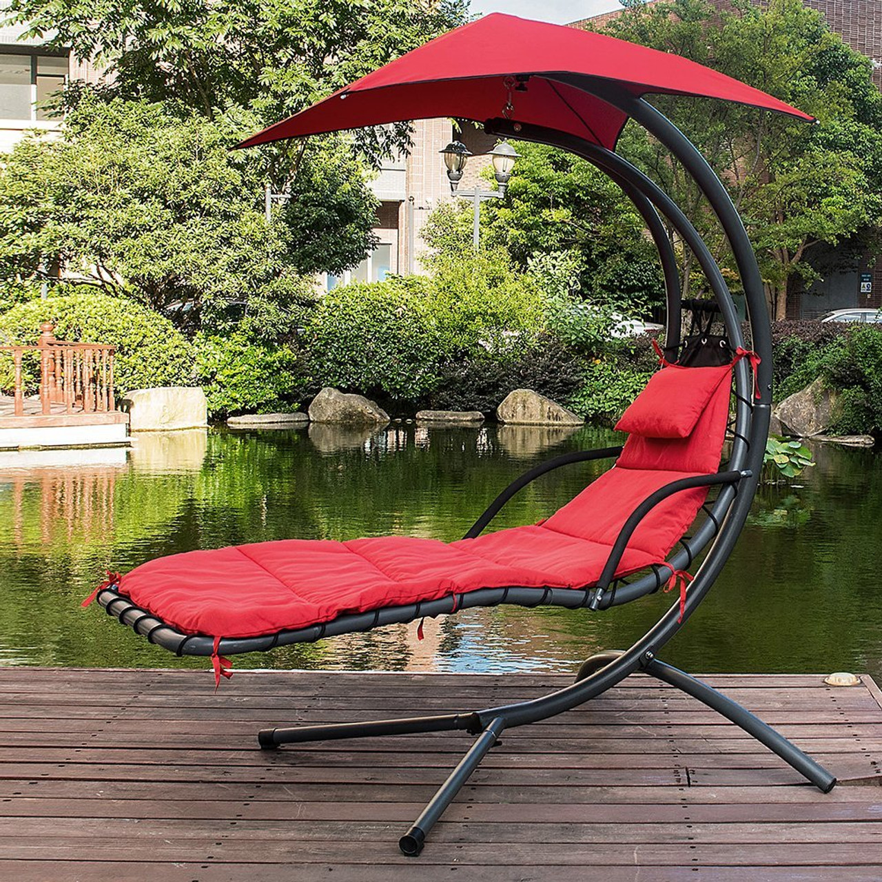 Lazy Daze Hammocks Dream Chair With Umbrella Hanging Chaise Lounge Chair  Arc Curved Hammock (Red